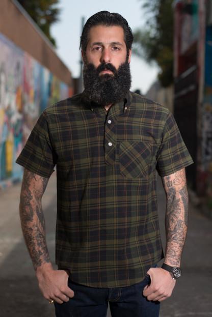 Yellow Rat Button Down Shirt - Moss/Black