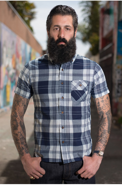 3sixteen for SEMX Breezy-Days Shirt - Indigo-Madras