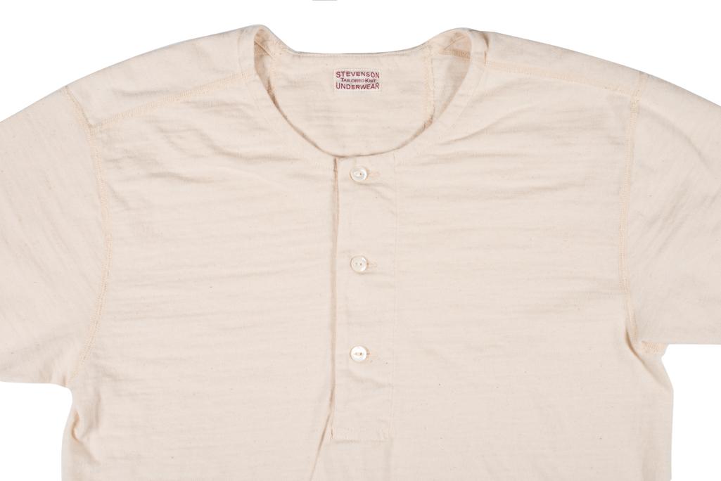 Stevenson Loopwheeled Short Sleeve - Henley Oatmeal - Image 1