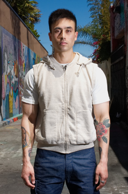 Stevenson Loopwheeled Images of Turbulence Sleeveless Hoodie - Oatmeal