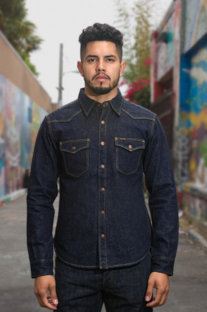 Iron Heart 18oz Denim CPO Shirt w/ Hand Pockets - Indigo