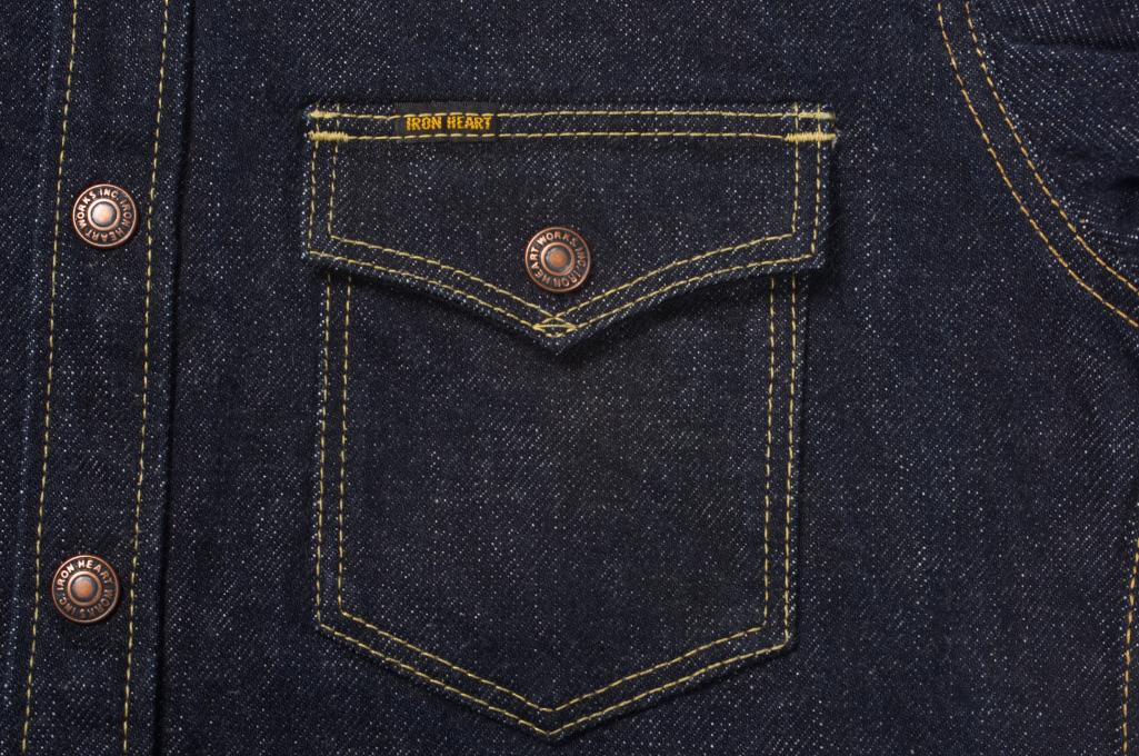 Iron Heart 18oz Denim CPO Shirt w/ Hand Pockets - Indigo - Image 7