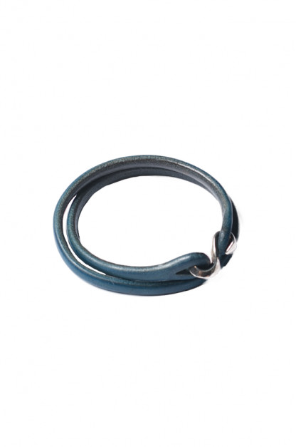 Flat Head Leather & Silver Bracelet - Indigo Double Wrap