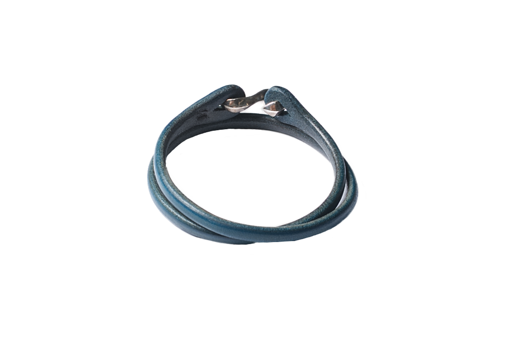 Flat Head Leather & Silver Bracelet - Indigo Double Wrap - Image 1