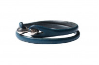Flat Head Leather & Silver Bracelet - Indigo Double Wrap - Image 3