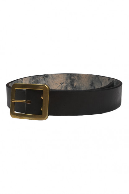 Strike Gold Leather Belt - Black