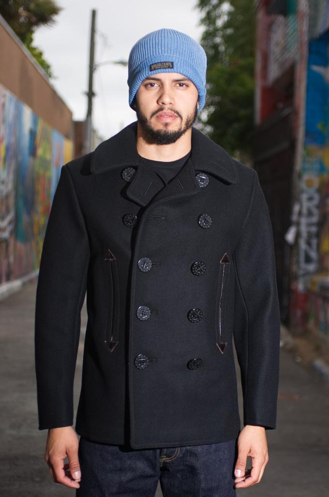 15054b05b5f9 Buzz Rickson x William Gibson Slim Cut Black Pea Coat