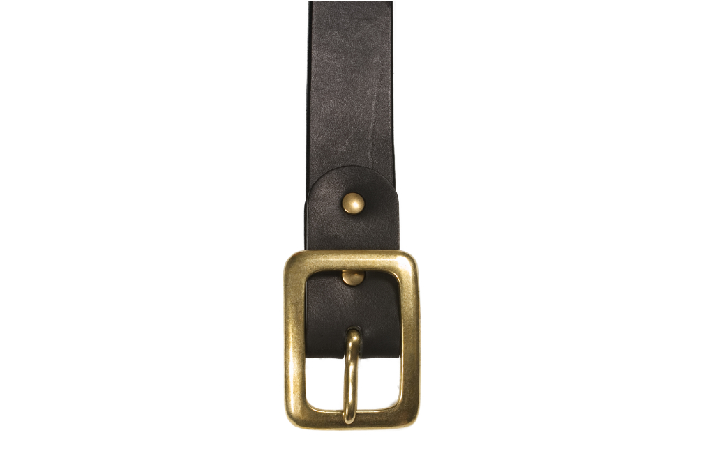 Iron Heart Heavy Duty Cowhide Belt - Brass/Black - Image 1