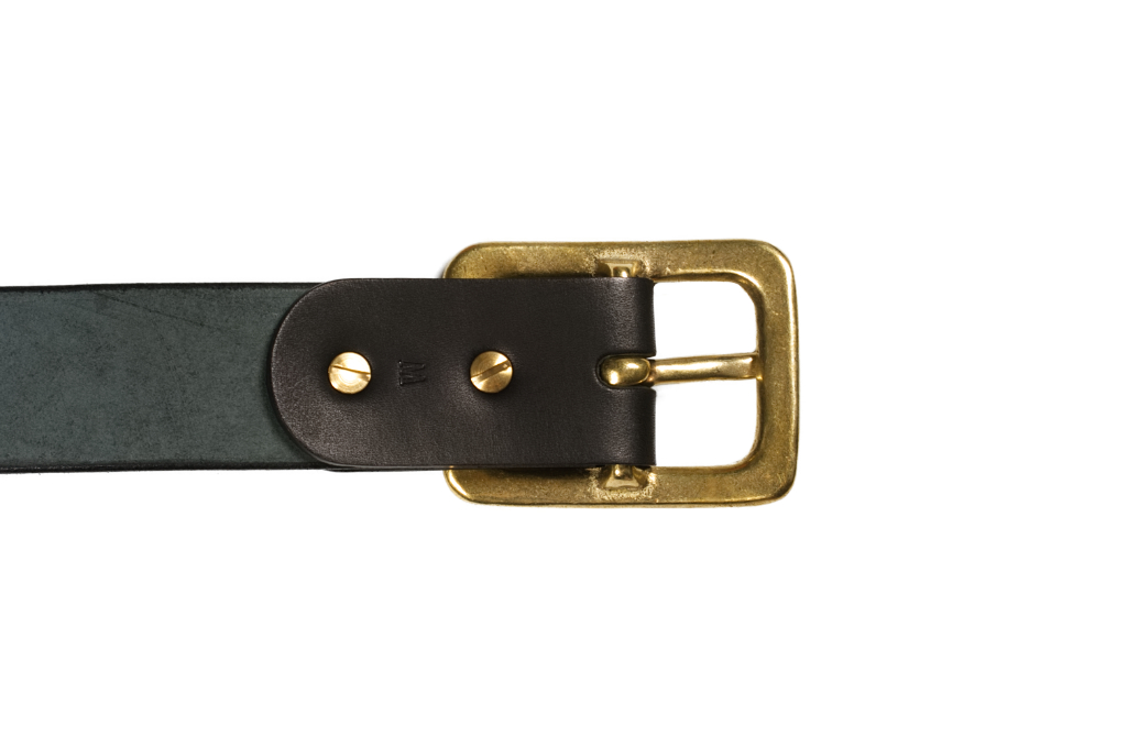 Iron Heart Heavy Duty Cowhide Belt - Brass/Black - Image 4