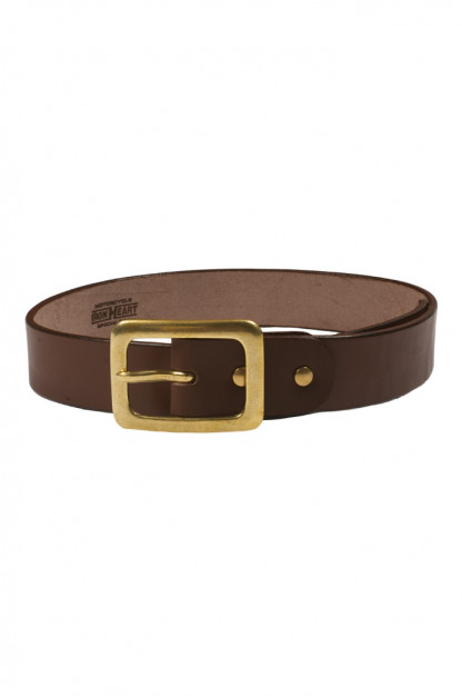 Iron Heart Heavy Duty Cowhide Belt - Brass/Brown