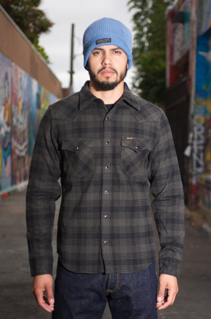 19e029d7765 Iron Heart Ultra-Heavy Glen Check Flannel - Gray Black Snap