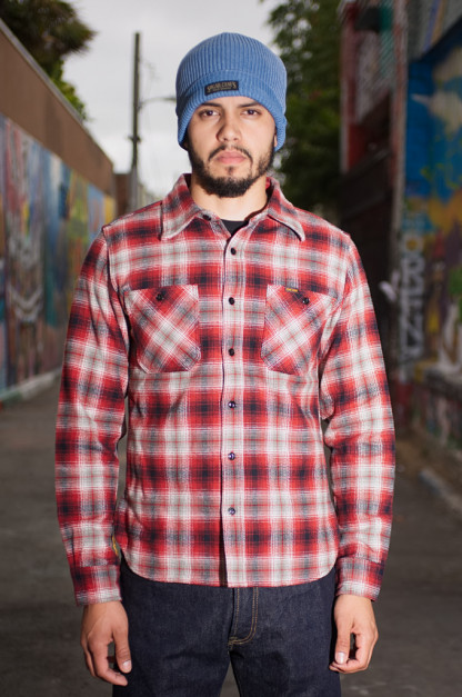 dc905f3da5d Iron Heart Ultra-Heavy Flannel Classic Check Shirt - Red Black Workshirt