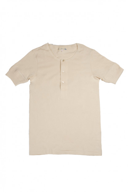 Merz b. Schwanen 2-Thread Heavy Weight T-Shirt - Henley Natural