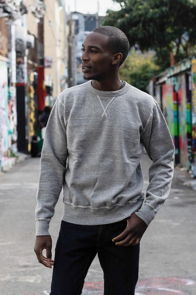 Buzz Rickson Flatlock Seam Crewneck Sweater - Gray - Image 1