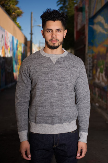 Iron Heart Loopwheeled Flatlock Seamed Fleece Sweater - Gray