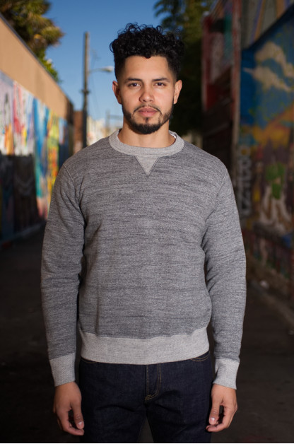 Iron Heart Loopwheeled Flatlock Seamed Fleece Sweater - Gray