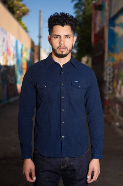 Iron Heart Cotton Herringbone Western Shirt - Navy