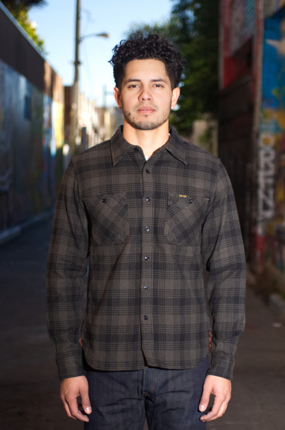 Iron Heart Ultra-Heavy Flannel Glen Check - Black/Gray Workshirt