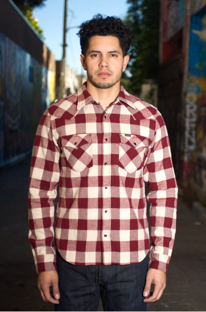 Iron Heart Ultra-Heavy Flannel Buffalo Check Snap Shirt - Maroon/Cream