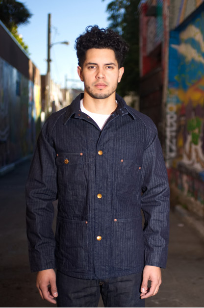 Studio D'Artisan Indigo Herringbone Denim Coverall
