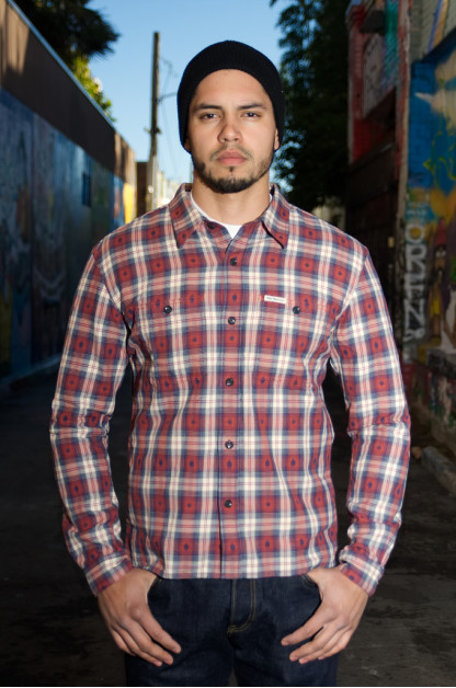 Flat Head Amnesia Haze Native Check Shirt - Red