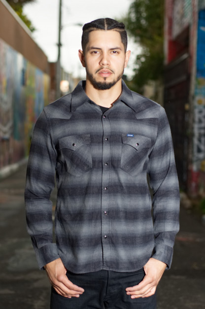 Iron Heart 2018 Ombre Check Western Shirt - Black/Gray