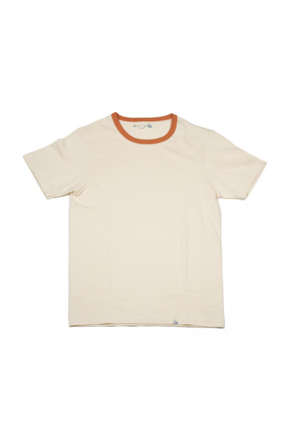 Merz B. Schwanen 2-Thread Heavy Weight T-Shirt - Natural/Rust Stripe T-Shirt