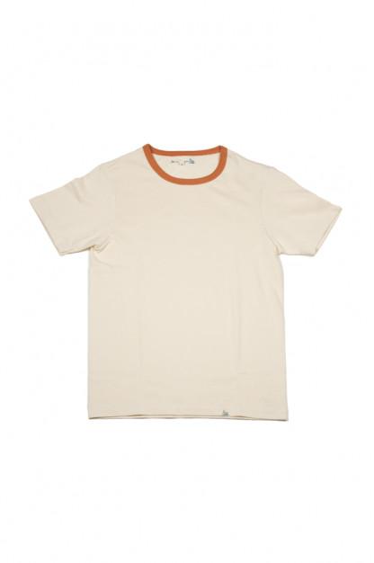 Merz B. Schwanen 2-Thread Heavy Weight T-Shirt - Natural/Rust Stripe T-Shirt