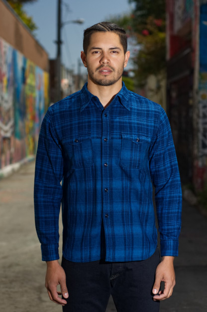 Stevenson Smith Narrow x Wide Plaid Indigo-Dyed Shirt