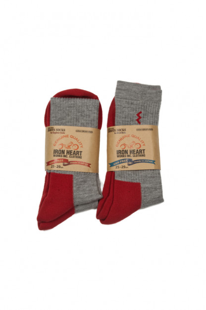 Iron Heart Heavyweight Work Boot Socks - Red