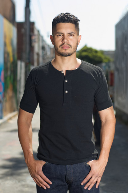 Stevenson LEON Loopwheeled Short Sleeve Henley - Black