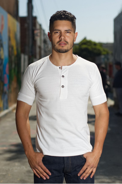 Stevenson LEON Loopwheeled Short Sleeve Henley - White