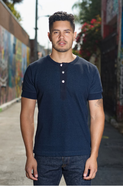 Pure Blue Japan Loopback Military Henley T-Shirt
