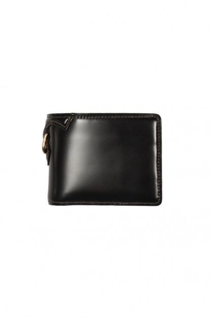 Flat Head Shell Cordovan Half-Fold Wallet - Black