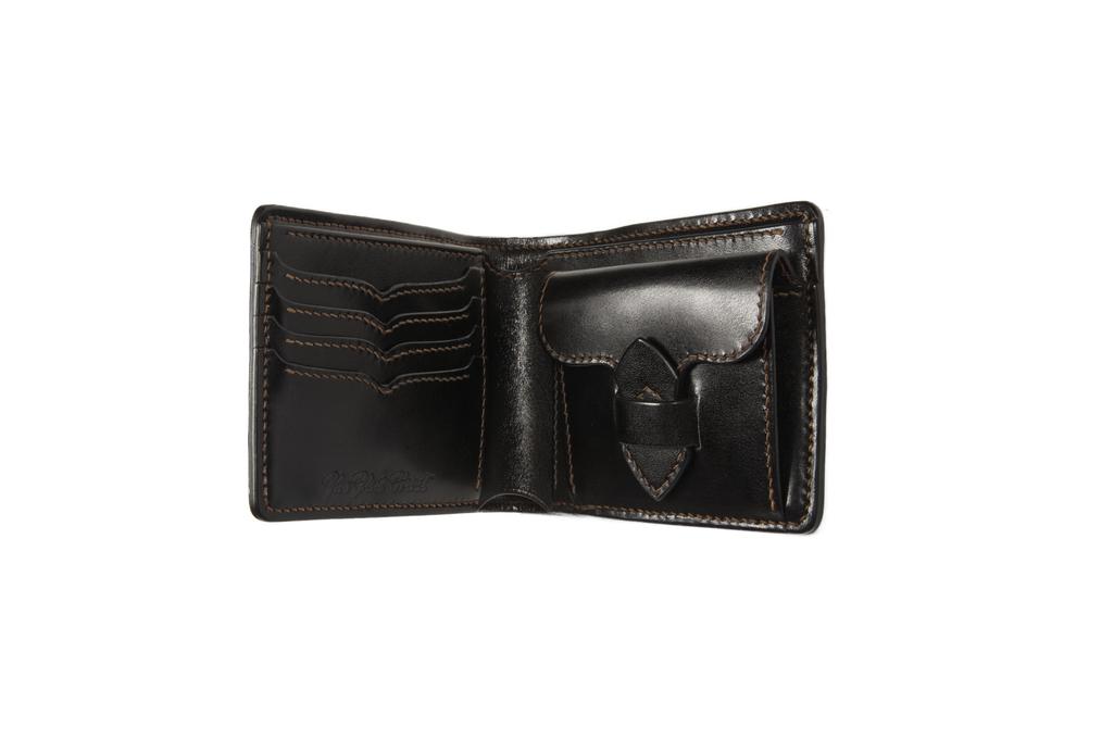 Flat Head Shell Cordovan Half-Fold Wallet - Black - Image 3