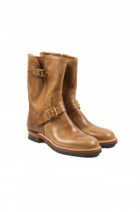 Flat Head Goodyear Welted Engineer Boots - Natural Pull-Up Chromexcel - Image 0
