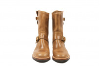 Flat Head Goodyear Welted Engineer Boots - Natural Pull-Up Chromexcel - Image 1