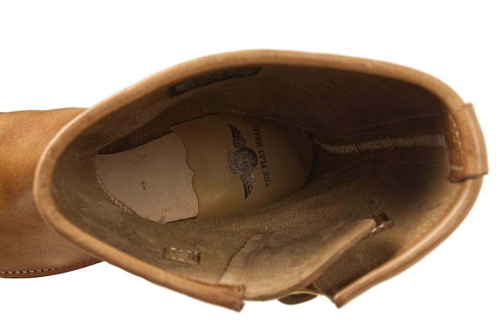 Flat Head Goodyear Welted Engineer Boots - Natural Pull-Up Chromexcel - Image 4