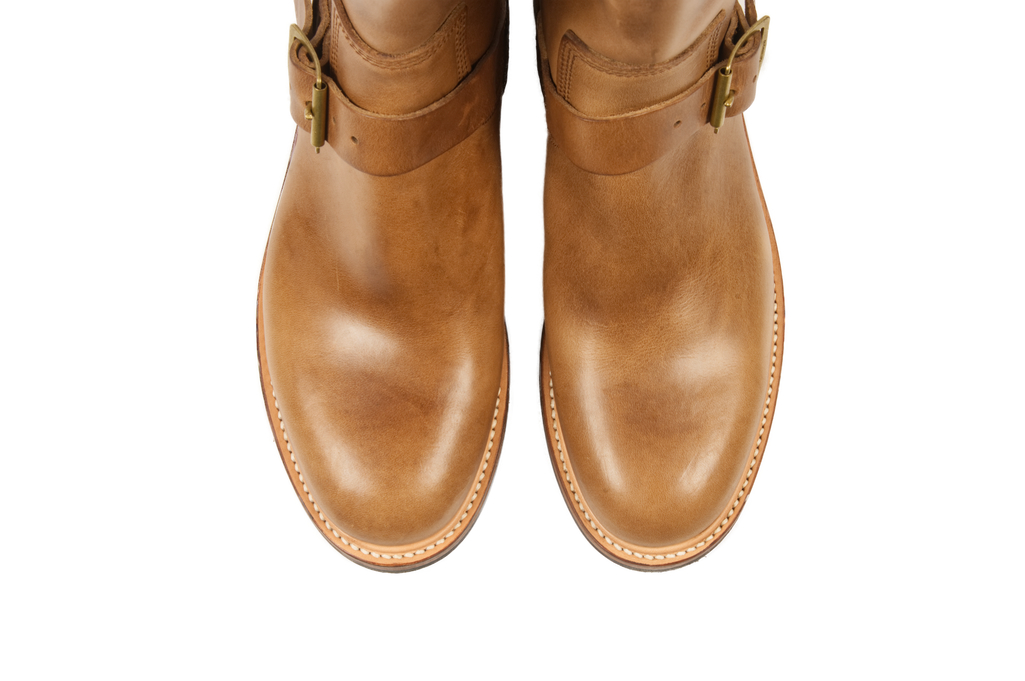 Flat Head Goodyear Welted Engineer Boots - Natural Pull-Up Chromexcel - Image 11