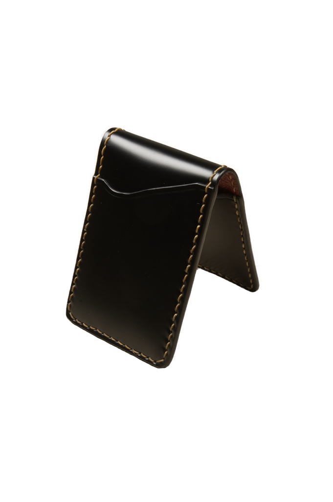 Flat Head Shell Cordovan Small Wallet - Black - Image 0