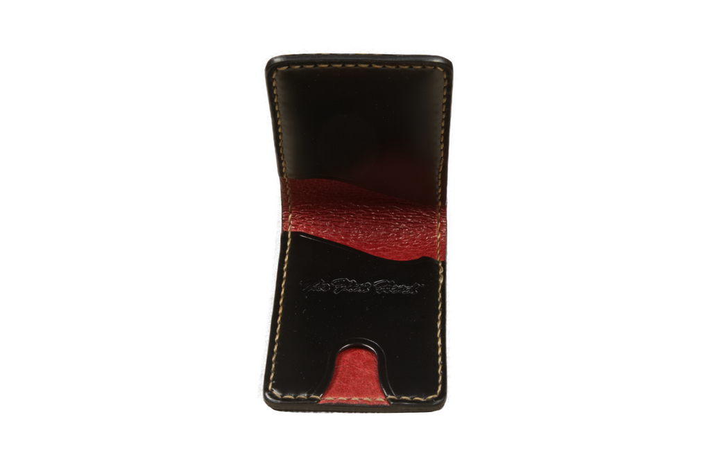 Flat Head Shell Cordovan Small Wallet - Black - Image 1