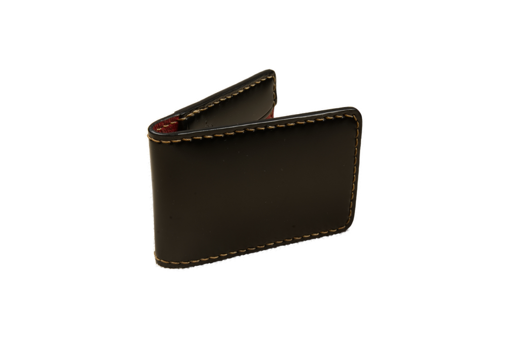 Flat Head Shell Cordovan Small Wallet - Black - Image 3