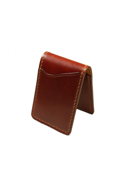 Flat Head Shell Cordovan Small Wallet - Dark Tan