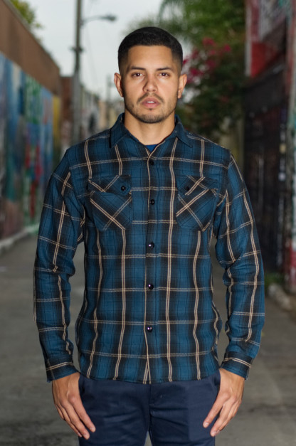 3sixteen Crosscut Flannel - Slate Blue Plaid