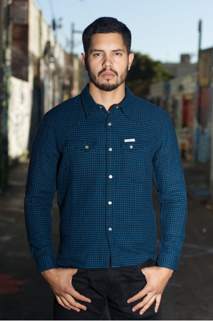 Flat Head Winter Heavy Flannel Snap Shirt - Blue/Black Houndstooth