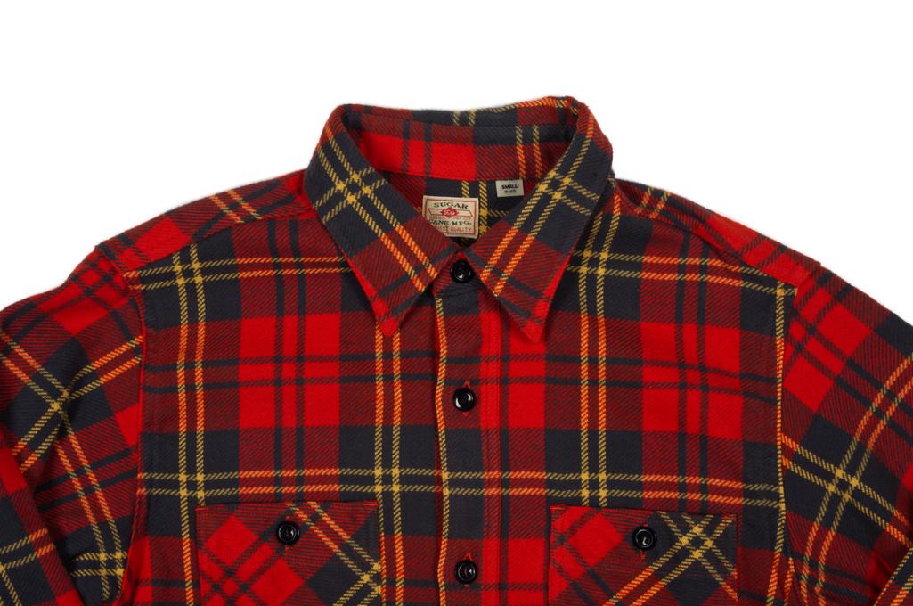 Sugar Cane Twill Check Winter Flannel - Red Check - Image 3