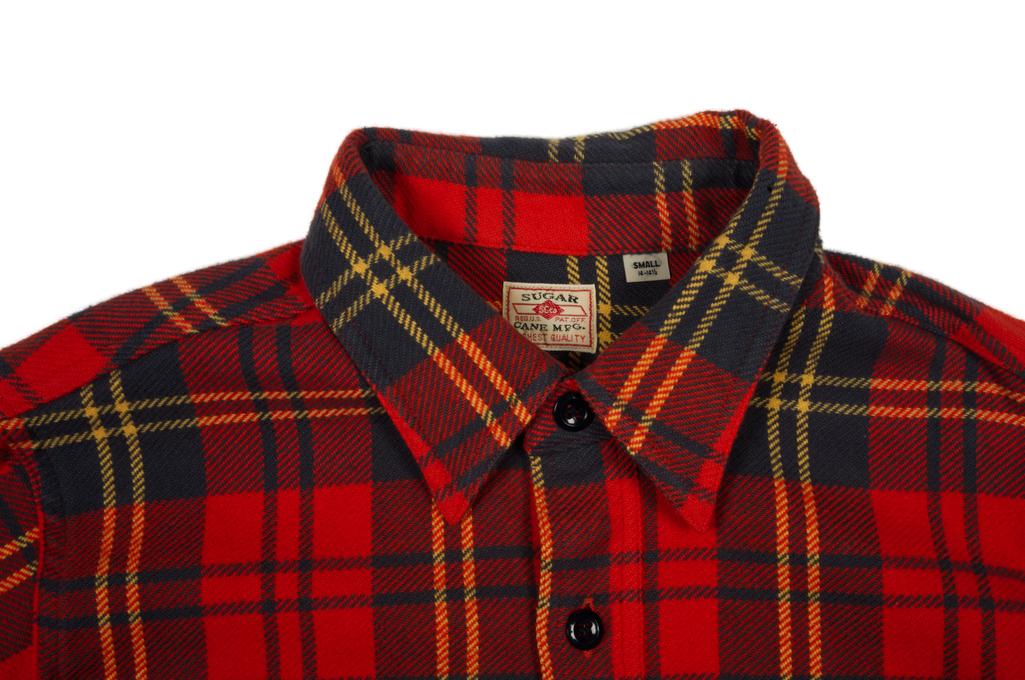 Sugar Cane Twill Check Winter Flannel - Red Check - Image 4