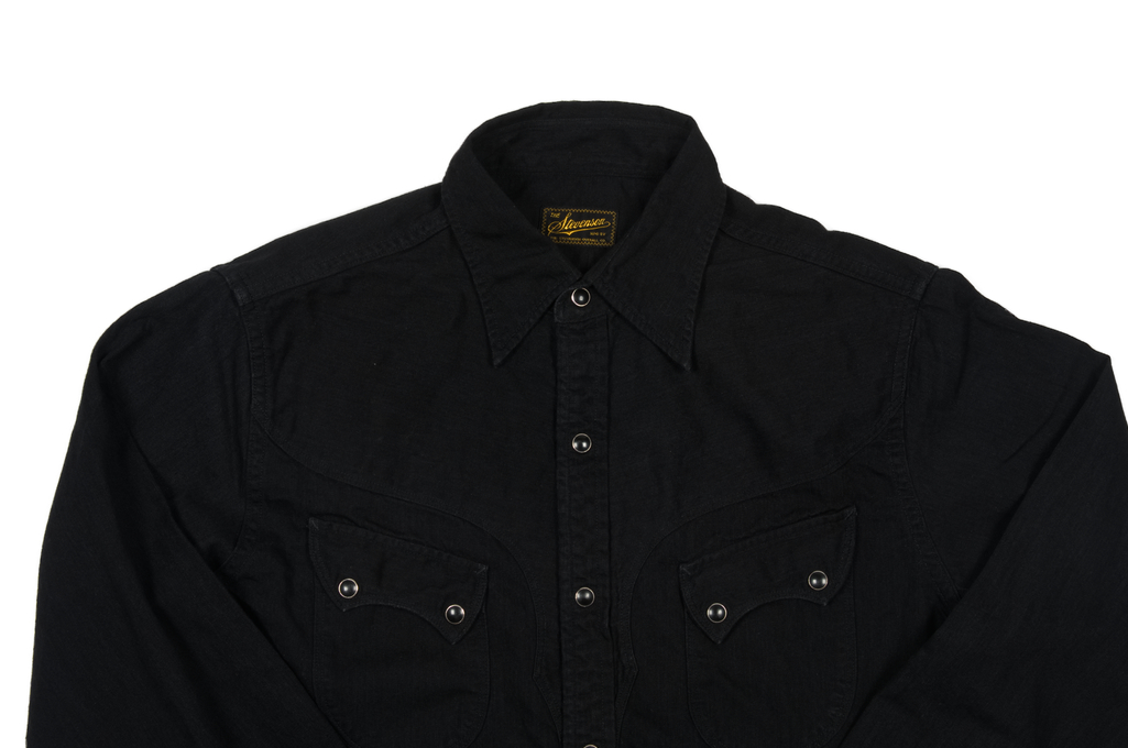 Stevenson Cody Snap Shirt - Black/Black Denim - Image 3