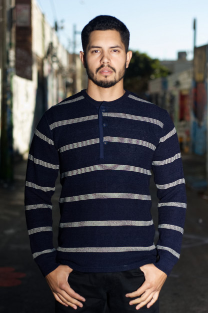 Stevenson Indigo-Dyed Henley - Long Sleeve Striped Indigo