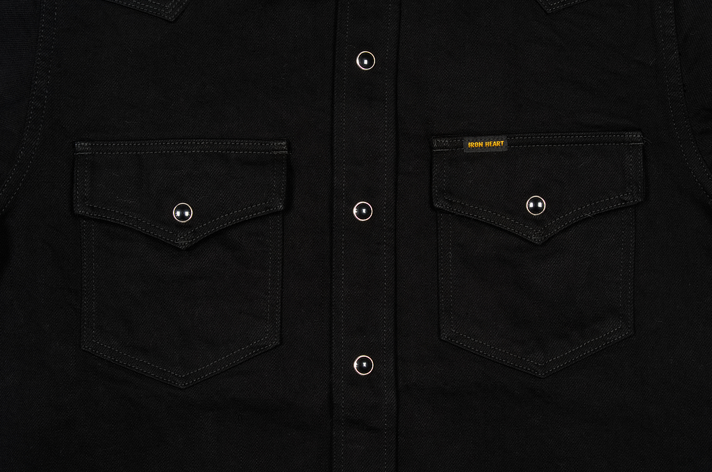 Iron Heart 12oz Denim Shirt - Superblack Snap - Image 4